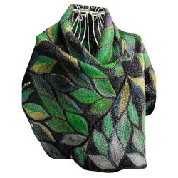 Halsduk för kvinnors bladtryck elegant sjal mode retro halsduk