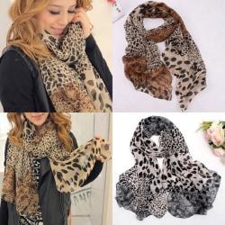 Kvinnors leopard halsduk halsduk sjal mode retro halsduk Leopard