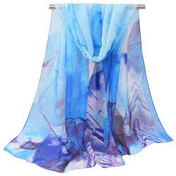 Kvinnors tryckta långa gasväv sjal mode retro halsduk blue 47*152cm