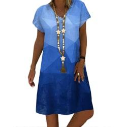 Kvinnors tryckta kortärmade klänning Lös Retro festklänning dark bule L
