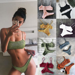 Women's sexy 2-piece pleated triangle bikini beach swimsuit green M