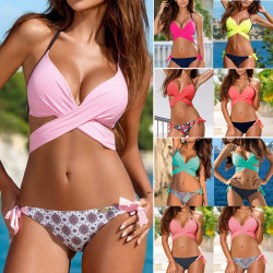 Kvinnors sexiga bandage Push Up Bikini 2-delad halter beach baddräkt yellow L