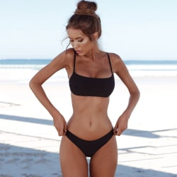 Women's sexy swimsuit, 2-piece bikini beach swimsuit black XL