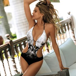 Women's sexy swimsuit, stitching printed beach swimsuit photo color S