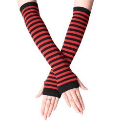 Randiga handskar för kvinnor med långa handskar Black red