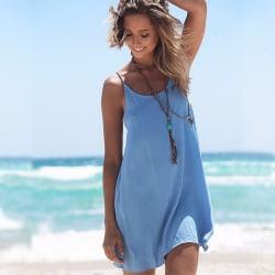 Kvinnors sommarklänning ärmlös sexig halterfestklänning XL