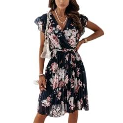 Kvinnors sommar rufsad kortärmad klänning med V-ringning black L