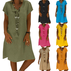 Kvinnors V-ringad kortärmad klänning, avslappnad kjol i streetstil black XL