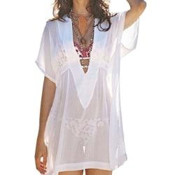 Kvinnor Transparent V-ringad blus Solskyddslös klänning white XL