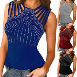 Kvinnors paljetter ärmlös tank-T-shirt topp sommar strand Slim Fit Black S