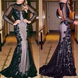 Kvinnors sexiga ihåliga paljetter Festklänning lång black L
