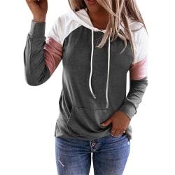 Kvinnors skarv Långärmad T-shirt med huva Lösa fickfickor Red M