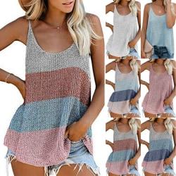 Kvinnor sommar ärmlös väst tank stickad färg block T-shirts White S