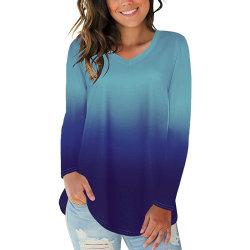 Kvinnors V-ringning Långärmad topp Lös Casual Blus T-shirt Blue Purple 3XL