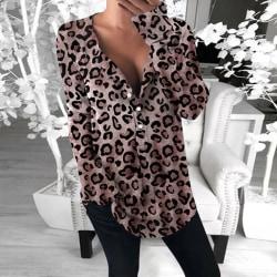 Kvinnor V-ringad långärmad leopardtryckt tröja Casual toppar