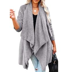 Kvinnor Varm Varm Kofta Revers Långärmad Ytterkläder Toppar Grey M