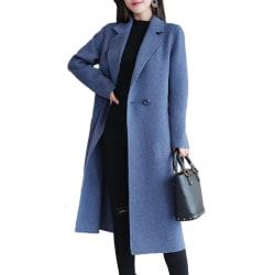 Kvinnor Vinter Warm Slim Fit Woolen Long Trench Coat Jacket Parka red S
