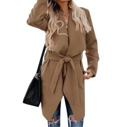 Kvinnor Ull Trenchcoat Snörning Outwear Cardigan Vinterjackor Dark Khaki S