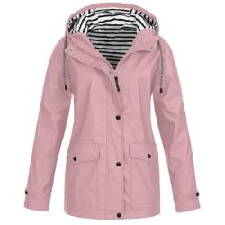 Kvinnor Zip-Up Hooded Långärmad Vattentät Resor Toppar Pink M