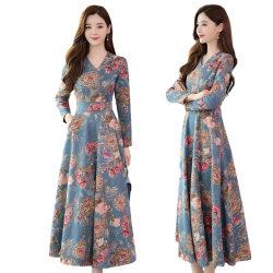 Kvinnors blommigtryck V-ringad maxiklänning för damer, festbröllop Blue XL