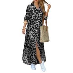 Kvinnors sexiga knäppta skjortklänning Casual Camo Tops Maxi Loose White Leopard L