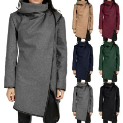 Kvinnors vinterjacka med hög halsjacka för damer avslappnad kappa