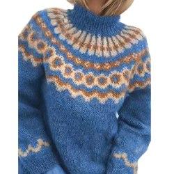 Kvinnors vintervärmare tröja Casual stickad passformströja Blue 2XL
