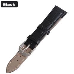 Klockarmband i Läder (Vintage-design) Svart 20mm