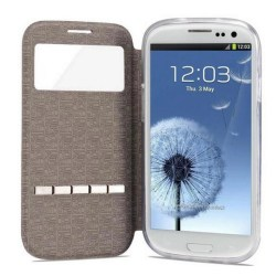 Smartfodral med fönster och svarsfunktion till Galaxy S3 Vit
