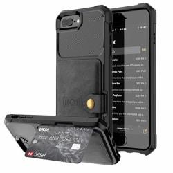 iPhone 7 Plus - Praktiskt Skal med Kortfack Svart