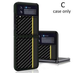 Cover kolfiber läderfodral till Samsung Galaxy Z Flip 3 C black yellow