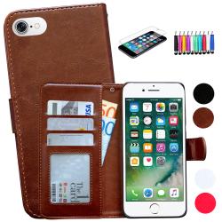 iPhone 7/8/SE (2020) - Läderfodral/Skydd + 3 i 1 Paket Svart