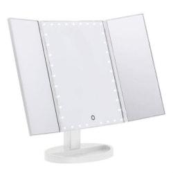 UNIQ Hollywood Makeup Spegel Trifold spegel med LED ljus, Vit Vit