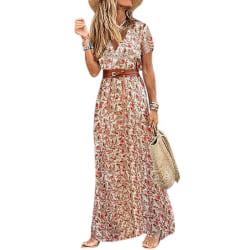 Dam sommar V-ringad Boho-bältad lång klänning Red L