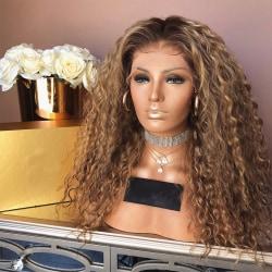 Dam långt lockigt hår peruk naturlig värmebeständig syntet Brun