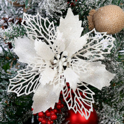 10: e julblommor Juldekorationsfest White 10pcs