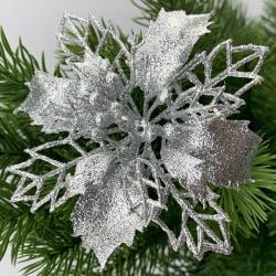 10st julblommor Xmas Tree Decorations Party Silver 10pcs
