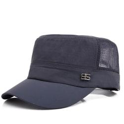 Mäns Retro Snapback Mesh Caps Solid Flat Baseball Mössor Dark Grey