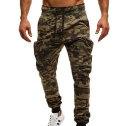 Herr Camo Sweat Pants Joggers Sport Casual Byxor Grön Camo M