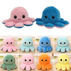 Kid Dubbelsidig Flip Octopus Bläckfisk Vändbar plyschleksak Deep Blue&Light Blue