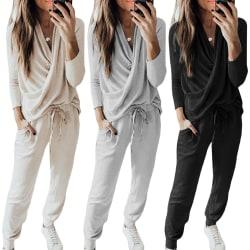 2: a Kvinnors träningsoveraller Set Loose Loungewear Stickat Black XL