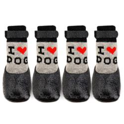 4st / Set söt hund halkfria strumpor Strumpor för varm socka för husdjur Black L