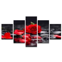 5 paneler Art Tree Oljemålning Bild Inramad kanvasdekor Rose
