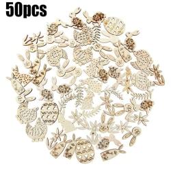 50st påskkaninägg trähantverk dekor DIY hängande prydnad #1