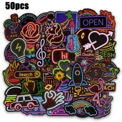 50st Neon Sign Klistermärke Graffiti Dekaler för Pack Laptop 50pcs