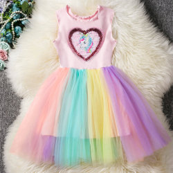 Unicorn tecknad flickor kostymkläder Tutu klänning multicolor 4-5Years