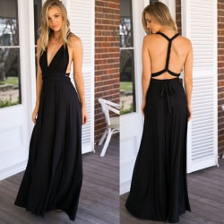 Ladies Long Wrap Dress Party Multiway Maxi Dress Svart L