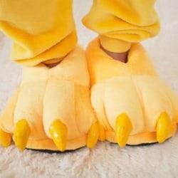 Vuxna barn djur monster fötter tofflor plysch skor gul M(Adult)