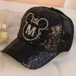 Pojkar Flickor Cap Mickey Minnie Mouse Justerbar solhatt Black
