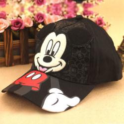 Girls Boys Mickey Mouse Casual Cartoon Sun Cap Black